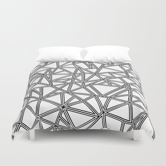 Abstract New Black on White Duvet Cover