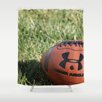 football Shower Curtains featuring Football by Images by Danielle