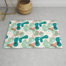 Curvy Shapes Pattern [Teal and Mint] Rug
