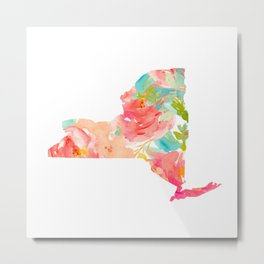 new york map floral state print nyc ny state Metal Print