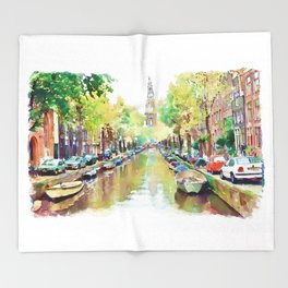 Amsterdam Canal 2 Throw Blanket