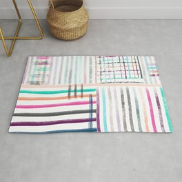 Colorful striped brushes pattern Rug