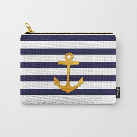 Marine pattern- blue white striped with golden anchor Carry-All Pouch
