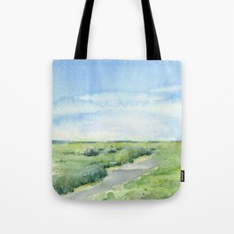 Sky and Grass Landscape Watercolor Tote Bag