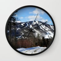 vermont Wall Clocks featuring Vermont Mountain by Tamsin Lucie
