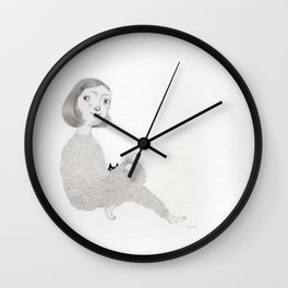 Little Girl and Cat Wall Clock