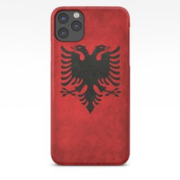 Albanian Flag with Grungy Texture iPhone Case