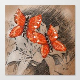 Butterflies and Lillies Canvas Print