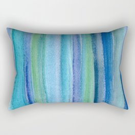 Blue and Green Watercolor Stripes - Underwater Reeds / Abstract Rectangular Pillow
