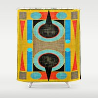 egyptian Shower Curtains featuring Egyptian Fortress by Kristine Rae Hanning