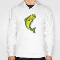trout Hoodies featuring trout fish jumping retro by retrovectors