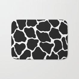 Trendy modern black white giraffe animal print Bath Mat