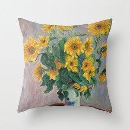 Claude Monet Bouquet Of Sunflowers 1881 Throw Pillow