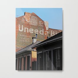 Uneed a Biscuit brick wall New Orleans Metal Print