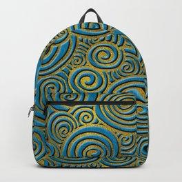 Elegant Golden Doodle Swirl on Blue Leather Backpack