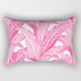 Pink banana leaves tropical pattern on white Rectangular Pillow