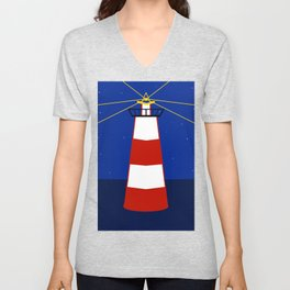 Design of a red and white offshore surveillance beacon illuminating ships to guide you Unisex V-Neck