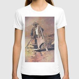 Leg-rower Intha fishermen on Inle Lake, Myanmar.  Watercolor painting of Fishermen on Inle Lake T-shirt