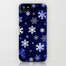 Dark Blue Snowflakes iPhone Case