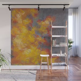 Abstract Drawing Of Fire On A Gray Background Wall Mural