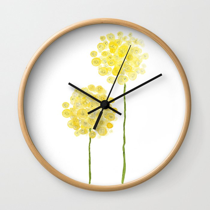 two abstract dandelions watercolor Wall Clock