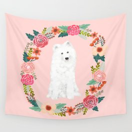 Samoyed dog breed floral wreath pet portrait dog gifts Wall Tapestry