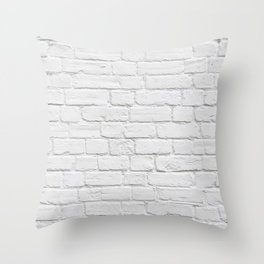White Brick Wall Throw Pillow