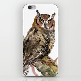 Owl in the woods, brown owl illustration iPhone Skin