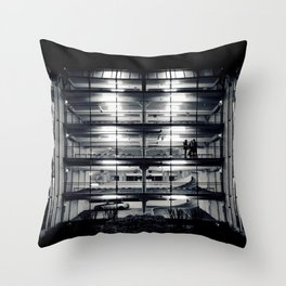 Perfect light in a lonely car park Throw Pillow