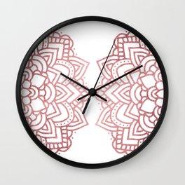 Modern geometric white rose faux gold floral mandala Wall Clock