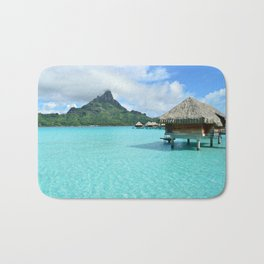 Luxury over-water resort with view on Bora Bora island Bath Mat