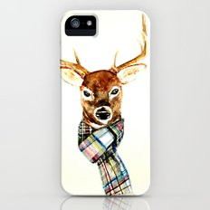 Deer buck with winter scarf - watercolor iPhone (5, 5s) Slim Case