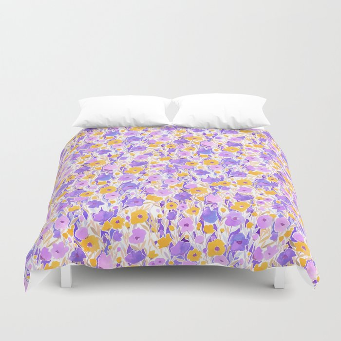 Flower Field Yellow Lilac Duvet Cover