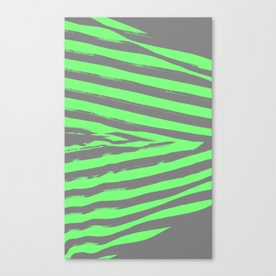 Green & Gray Stripes Canvas Print