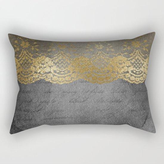 Pure elegance I- gold glitter luxury lace on black grunge background on #Society6 Rectangular Pillow