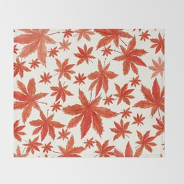 red maple leaves pattern Throw Blanket