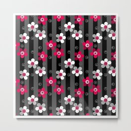 Crimson and white flowers on a black striped background Metal Print