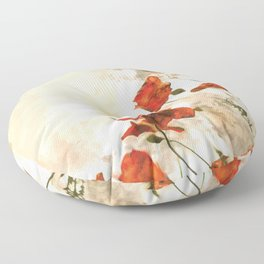 Red Poppy #floral #watercolor Floor Pillow