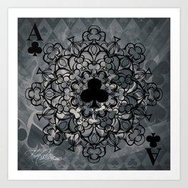 Ace of Clubs Mandala Art Print