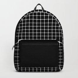 Dotted Grid Boarder Black Backpack