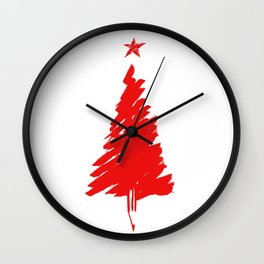 Red Xmas tree Wall Clock