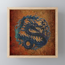 Blue Chinese Dragon on Stone Background Framed Mini Art Print