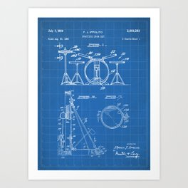 Drum Set Patent - Drummer Art - Blueprint Art Print