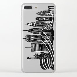 Linocut New York Clear iPhone Case