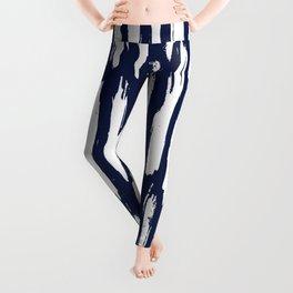 Vertical Dash White on Navy Blue Paint Stripes Leggings