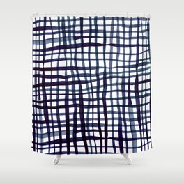 Watercolor doodle gingham - indigo Shower Curtain