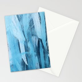 Pastel Blue Abstract Painting With Broad Brush Strokes Stationery Cards