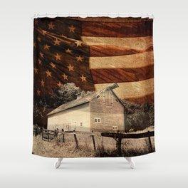 Rustic Barn Americana Heartland Farmhouse Country Flag Decor Art A464 Shower Curtain