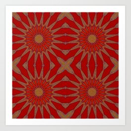 Autumn Red Pinwheel Flowers Art Print