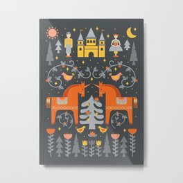 Scandinavian Fairy Tale Gray + Orange Metal Print